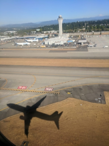 Just after takeoff at SeaTac