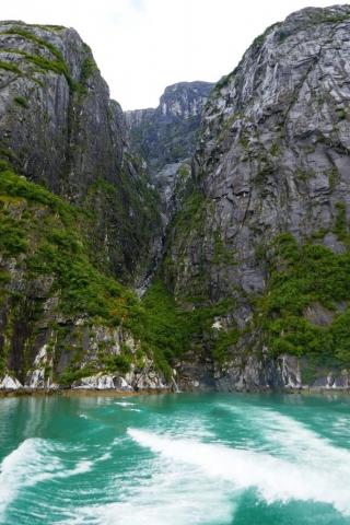 Cascade through a narrow valley