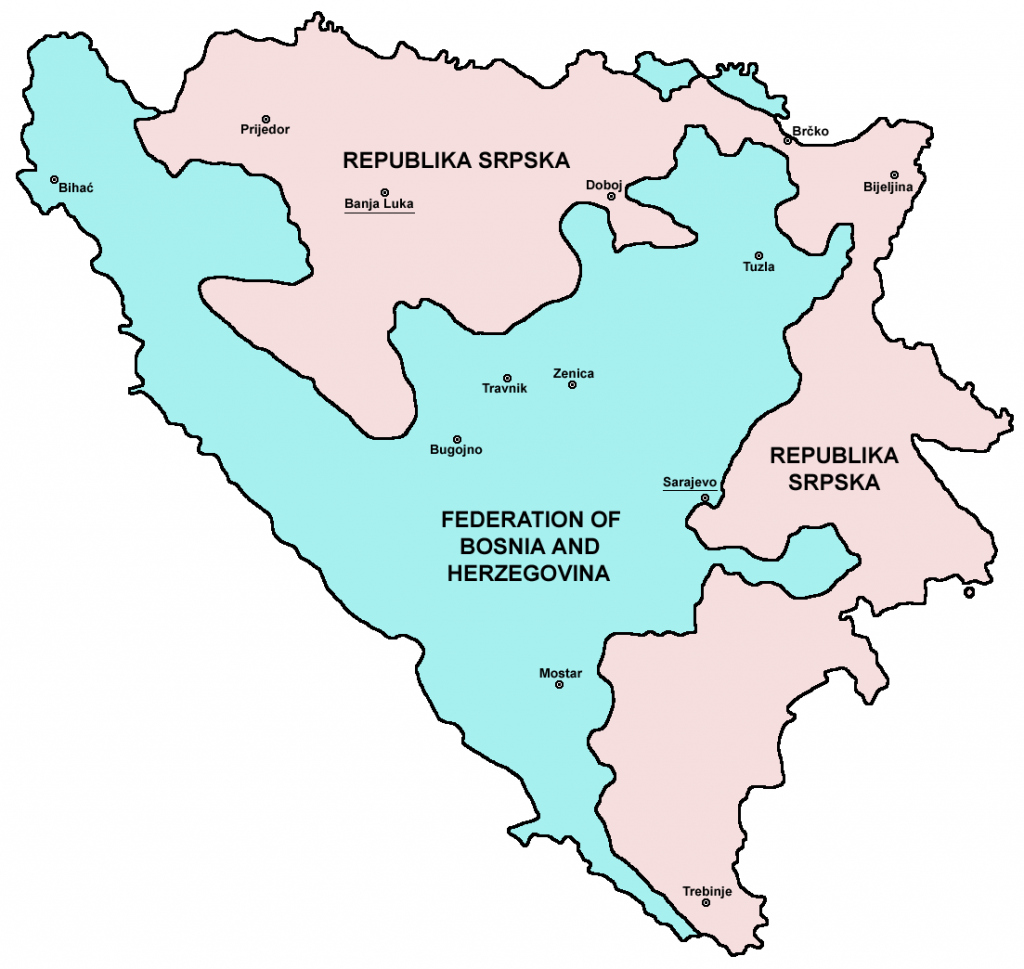 Map of Bosnia and Herzegovina after the Dayton Agreement