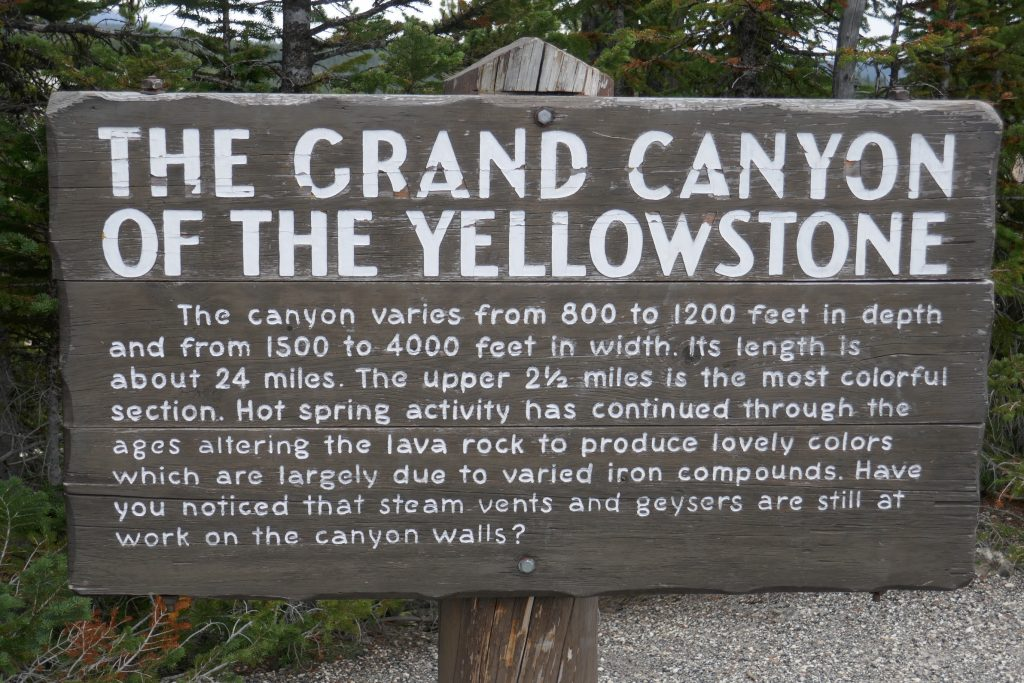 Sign talking describing the Grand Canyon of the Yellowstone