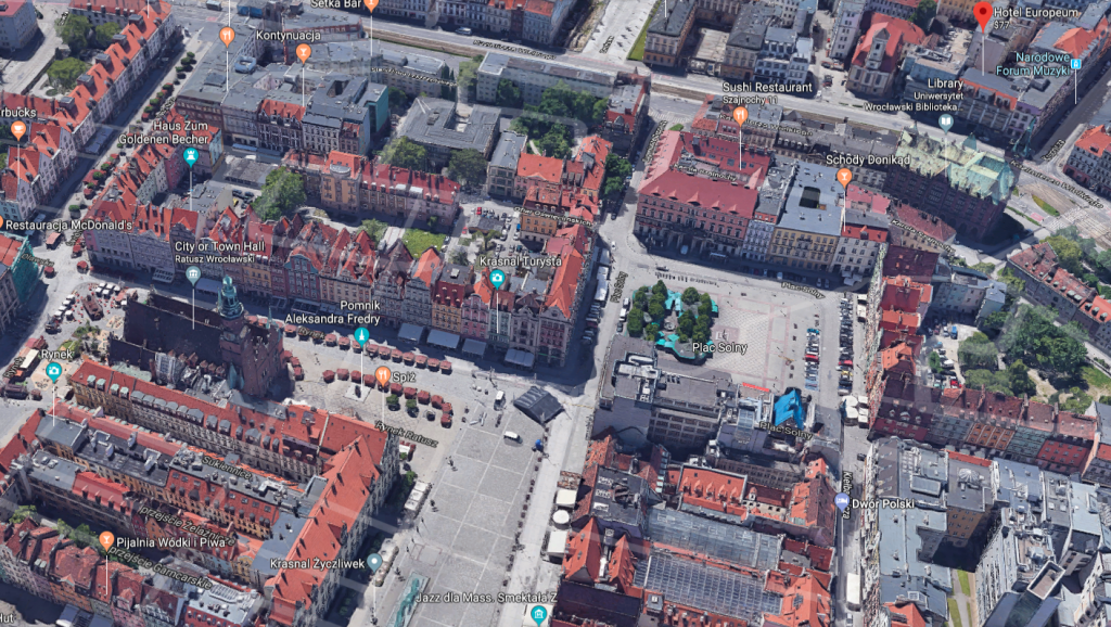 Aerial view of Wrocław historic center.