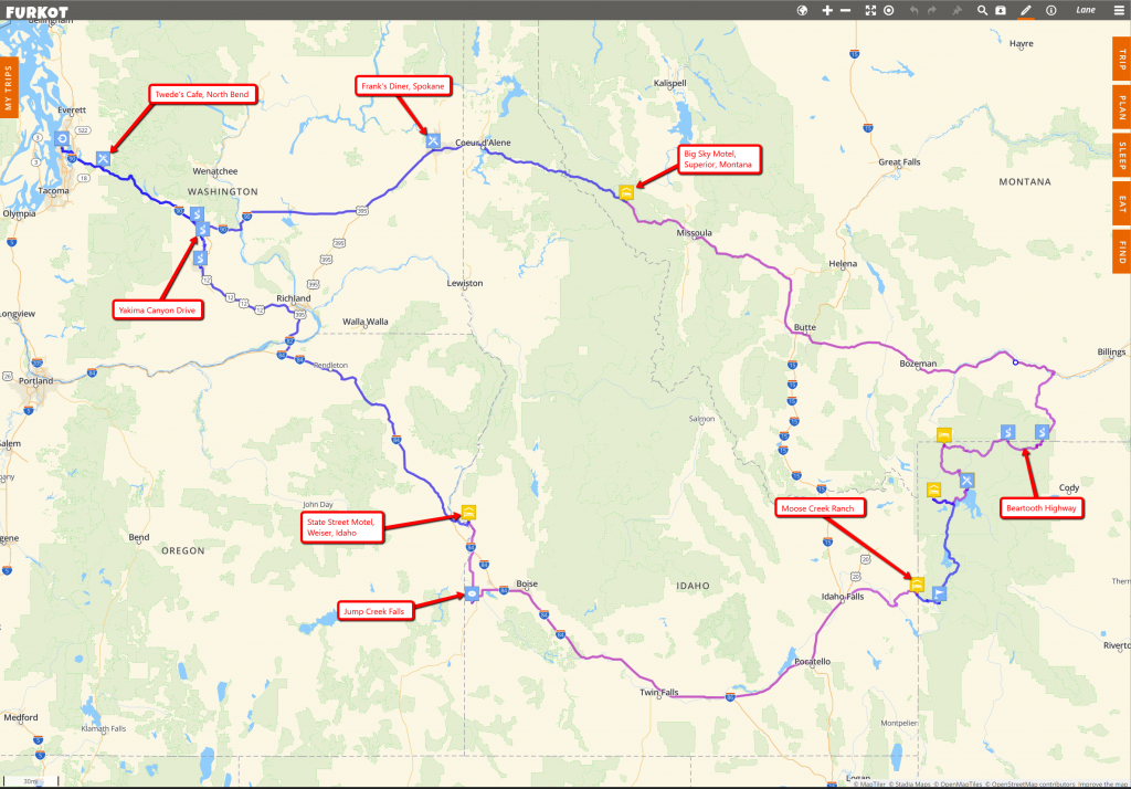 Screenshot from Furkot.com, showing the road trip plan