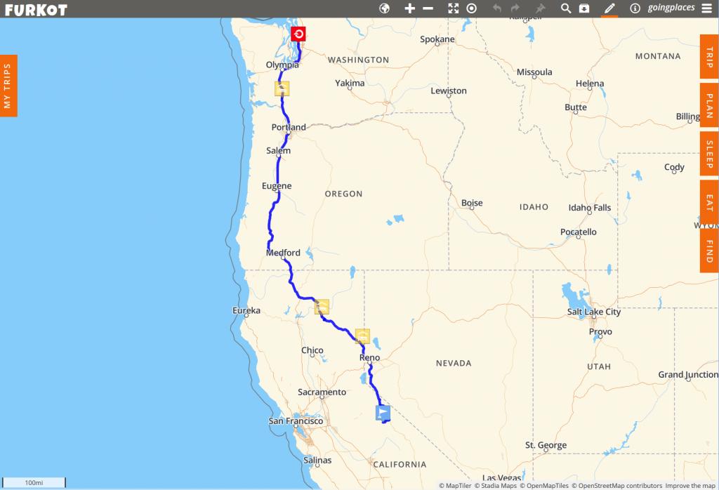 A simple map of my trip so far