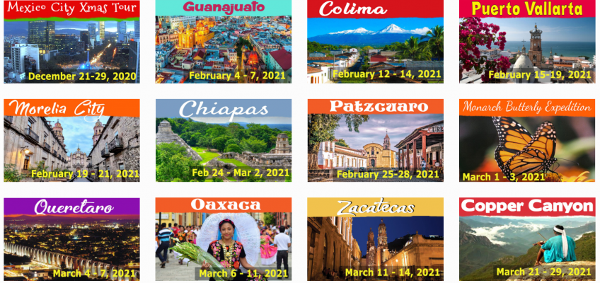 Thumbnails of upcoming Charter Club tours