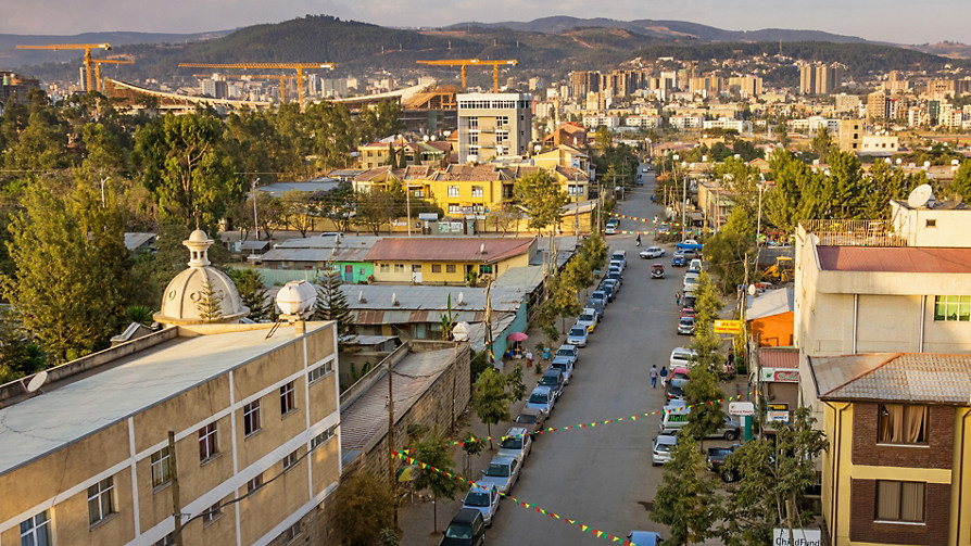 Aerial view of Addis Ababa, Ethiopia