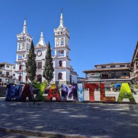 Mazamitla central plaza and Parroquia de San Cristobal